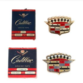 1953 Cadillac Series 62 Hood And Trunk Crest And Bezel Set 2 Pieces NOS Free Shipping In The USA