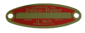 1953 1954 1955 1956 1957 1958 1959 1960 Cadillac Delco Red 12-Volt Generator and Starter Tag REPRODUCTION