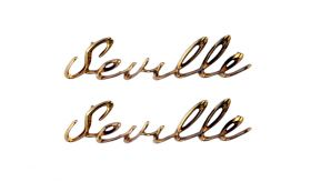 1957 Cadillac Seville Fender Scripts 1 Pair REPRODUCTION Free Shipping In The USA