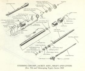 1969-cadillac-steering-column-jacket-assembly-shaft-levers-exc-tilt-telescoping-type