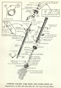1961-1962-1963-1964-cadillac-steering-column-tube-shaft-levers-exc-tilt