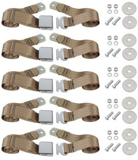 Cadillac Seat Belt Lap Style Tan Set of 5 REPRODUCTION Free Shipping In The USA