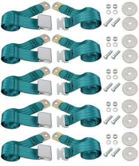Cadillac Seat Belt Lap Style Turquoise Set of 5 REPRODUCTION Free Shipping In The USA