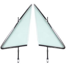 1963 1964 Cadillac Convertible Front Door Vent Glass With Frame Assemblies 1 Pair REPRODUCTION Free Shipping In The USA