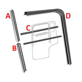 1940 1941 1942 1946 1947 1948 1949 1950 1951 1952 1953 1954 1955 1956 Cadillac 2-Door Front Door (Post Models) Window Channel And Felt Kit (10 Pieces) REPRODUCTION Free Shipping In The USA